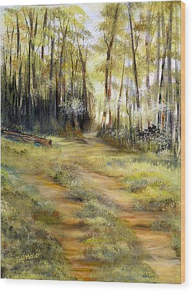 Wood Print featuring the painting In The Forest by Dorothy Maier