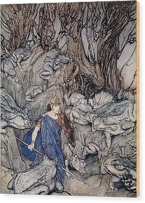In The Forked Glen Into Which He Slipped At Night-fall He Was Surrounded By Giant Toads Wood Print by Arthur Rackham