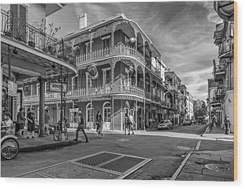 In The French Quarter Monochrome Wood Print by Steve Harrington