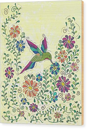 In The Garden - Hummer Wood Print by Susie WEBER