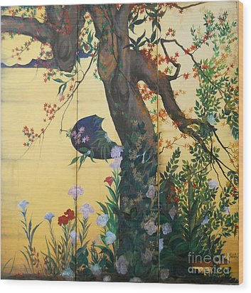In The Garden Wood Print by Sorin Apostolescu
