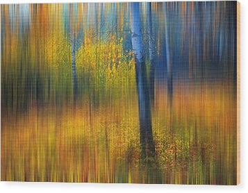 In The Golden Woods. Impressionism Wood Print by Jenny Rainbow