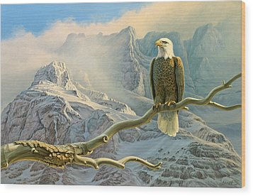 In The High Country-eagle Wood Print by Paul Krapf
