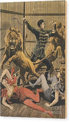 In The Lion�s Cage 1910s Uk Lion Tamers Wood Print by The Advertising Archives