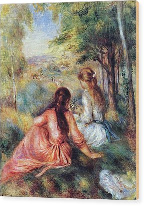 Wood Print featuring the painting In The Meadow by Pierre-Auguste Renoir