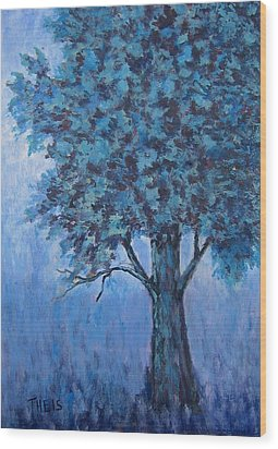 Wood Print featuring the painting In The Mist by Suzanne Theis