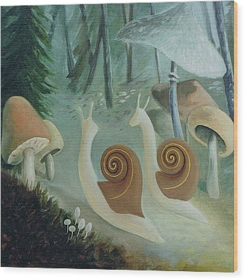 In The Mushroom Forest Wood Print