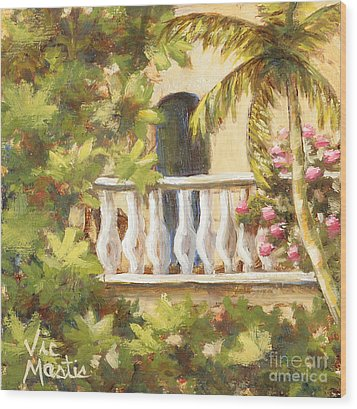 In The Oasis With Gold Leaf By Vic Mastis Wood Print by Vic  Mastis