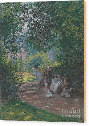 In The Park Monceau Wood Print by Cluade Monet
