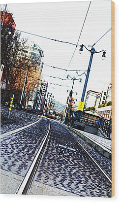 In The Path Of A Cable Car Wood Print by Holly Blunkall