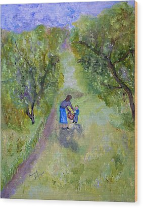 In The Pear Orchard Wood Print