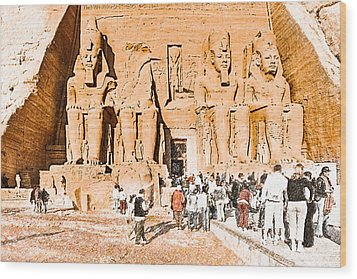 In The Presence Of Ramses II At Abu Simbel Wood Print by Mark E Tisdale