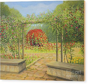 In The Rose Garden Wood Print by Kiril Stanchev