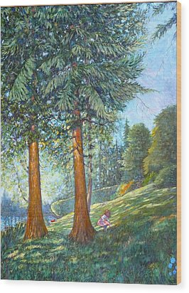 Wood Print featuring the painting In The Shade by Charles Munn