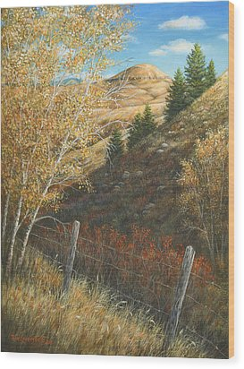 Wood Print featuring the painting In The Shadow Of Belt Butte by Kim Lockman
