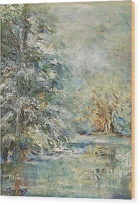 In The Snowy Silence Wood Print by Mary Wolf
