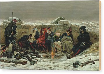 In The Trenches Wood Print by Alphonse Marie de Neuville