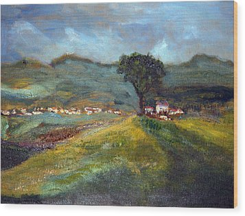 Wood Print featuring the painting In The Tuscan Hills by Michael Helfen