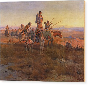 In The Wake Of The Buffalo Hunters Wood Print by Charles Russell