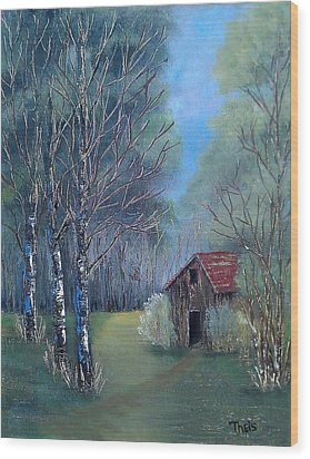 Wood Print featuring the painting In The Woods by Suzanne Theis