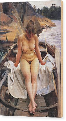 In Werners Rowing Boat Wood Print by Anders Zorn