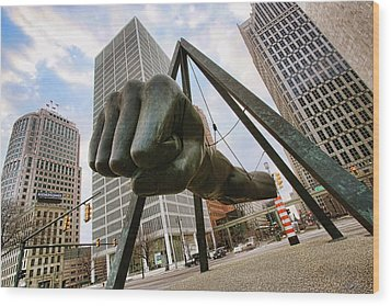 In Your Face -  Joe Louis Fist Statue - Detroit Michigan Wood Print