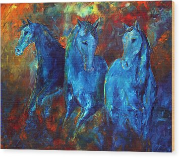 Abstract Horse Painting Blue Equine Wood Print by Jennifer Godshalk