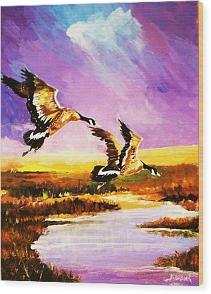 Wood Print featuring the painting Incoming Geese by Al Brown
