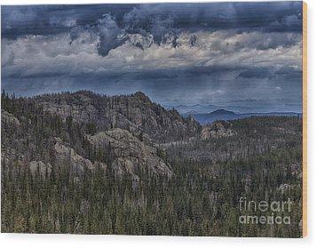 Incoming Storm Over The Black Hills Of South Dakota Wood Print
