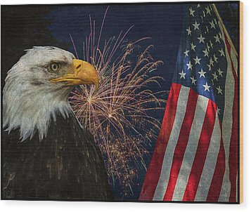 Independence Day Wood Print by Angie Vogel