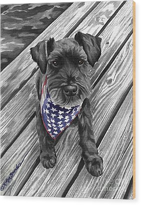 Independence Day Dog Wood Print