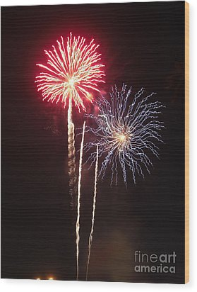 Independence Day Sparklers Wood Print by Deborah Smolinske