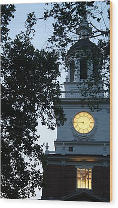 Independence Hall At Dusk Wood Print