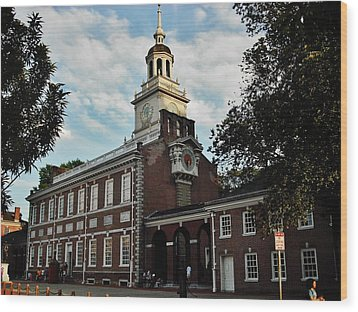 Wood Print featuring the photograph Independence Hall by Ed Sweeney