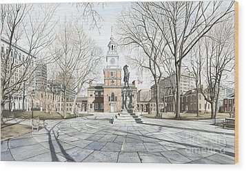 Independence Hall Wood Print by Keith Mountford
