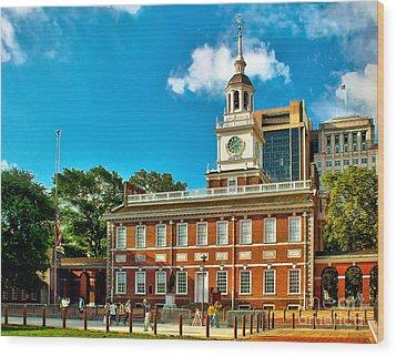 Independence Hall Wood Print by Nick Zelinsky