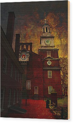 Independence Hall Philadelphia Let Freedom Ring Wood Print by Jeff Burgess