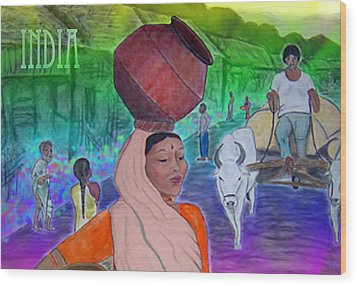 India Wood Print by Karen R Scoville