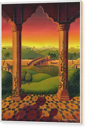 Wood Print featuring the painting India Landscape by Robin Moline