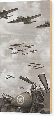 Indian 841 And The B-17 Panoramic Sepia Wood Print