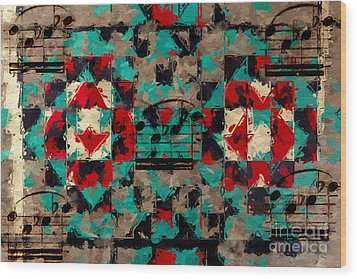 Wood Print featuring the digital art Indian Blanket Quintet by Lon Chaffin