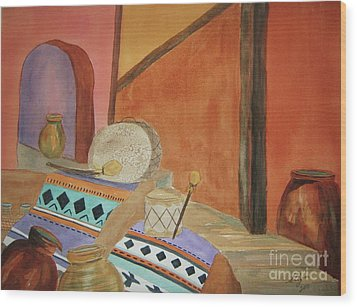 Wood Print featuring the painting Indian Blankets Jars And Drums by Ellen Levinson