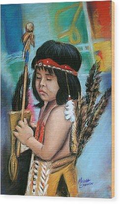 Wood Print featuring the painting Indian Boy by Melinda Saminski