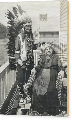 Wood Print featuring the photograph Indian Chief And Woman by Charles Beeler