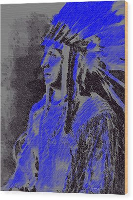 Wood Print featuring the pastel Indian Chief by George Pedro