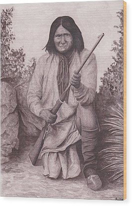 Indian Chief Geromino Wood Print by Billie Bowles
