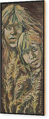 Indian Children Wood Print