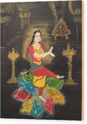 Indian Classical Dancer Wood Print
