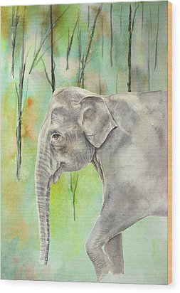 Wood Print featuring the painting Indian Elephant by Elizabeth Lock