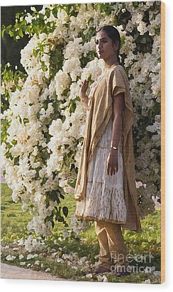 Indian Girl By The Flowery Tree Wood Print by Dominique Amendola